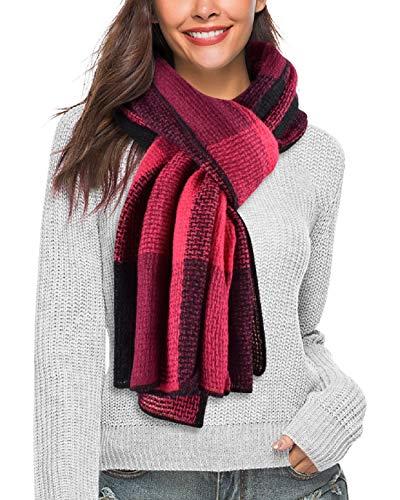 UMIPUBO Bufandas Mujer Invierno Cozy punto Pashmina Invierno Otoño Tartán Enrejado Mantón caliente Mantas (Rojo)