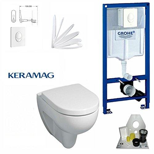 Grohe Vorwandelement mit Drückerplatte Weiß, Keramag Renova Nr. 1, Tiefspül-WC, inkl. Sitz und Beschichtung