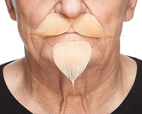 Mustaches Self Adhesive, Novelty, Fake Handlebar with a Goatee, Blond Color