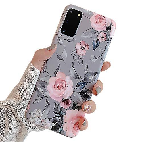 Ägare kompatibel med Samsung Galaxy S20 skal med lila blommor och grå löv för flickor kvinna löv med blommönster romantisk elegant mjuk TPU-skyddande för Samsung S20-rosa blommor