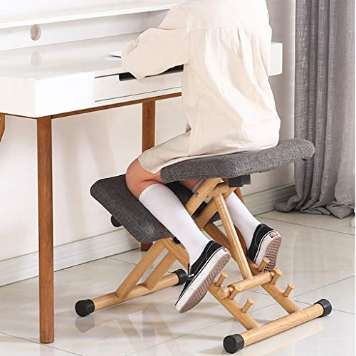 Xbswhm Mobiler Kniestuhl, Ergonomischer Kniestuhl, Büro Mit Orthopädischen Rückenschmerzen, Sitzhocker, Stark Verstellbar Mit Griffhaltung,Grau