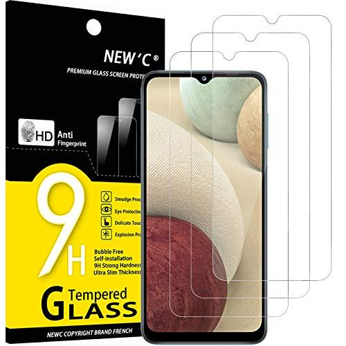 NEW'C 3 Pezzi, Vetro Temperato per Samsung Galaxy A12, Galaxy A02s, Pellicola Prottetiva Anti Graffio, Anti-Impronte, Senza Bolle, Durezza 9H, 0,33mm Ultra Trasparente, Ultra Resistente