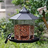 SAND MINE Panorama Bird Feeder, Hexagon Shaped with Roof Hanging Bird Feeder for Garden Yard Decoration...