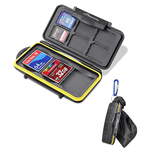 Beeway Memory Card Case Holder for SD SDHC SDXC Compact Flash CF Cards - Waterproof