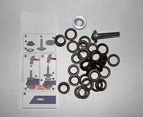 641395 10 ogen met schijven 14 mm oud koper incl. gereedschap