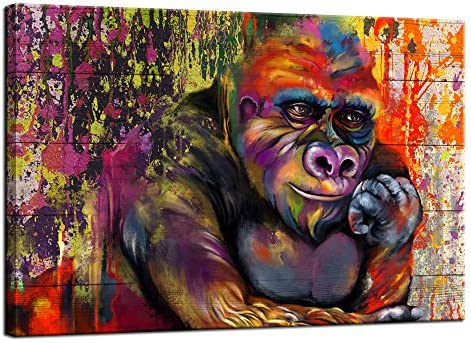 sechars Modern Animal Canvas Wall Art Colorful Gorilla Monkey Thinking Poster Cute Chimp Pictures product image