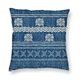 Harla Mud Cloth Geometric Stripe Teal Blue Velvet Soft Decorative Square Throw Pillow Case Cushion Cover Pillowcase for Livingroom Sofa Bedroom with Invisible Zipper 20x20 Inches