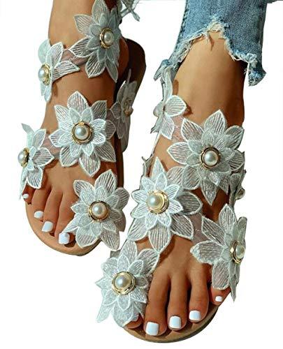WODETIAN Sandalias de Vestir del Dedo del pie del Anillo de la Flor de Sun Perla Sandalias Planas Verano Cuero de Playa Tacones Bajos Sandalias de Plataforma para Mujer,Blanco,36