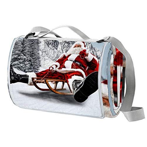 NewLL Santa Claus - Manta de picnic de madera para montar a caballo, impermeable, al aire libre, plegable, para la playa, camping, senderismo