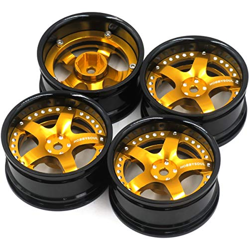 4pcs RC 1/10 Aluminum Alloy Wheel Rims Hex 12mm Adjustable Offset Gold Black Color Fit for 1:10 RC On Road Drift Touring Street Car Tires Tyres