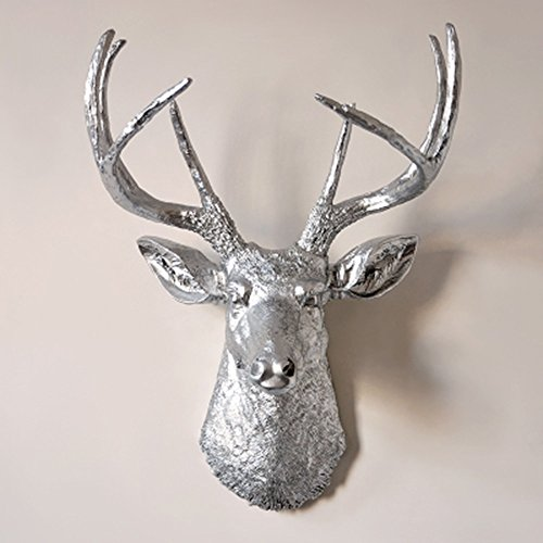 Faux Deer Head Wall Mount Resin Living Room Bedroom Pendant Animal Taxidermy Sculpture,Silver