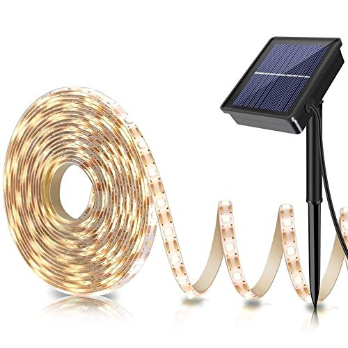 Outdoor Solar LED Strip Lights,2020 Upgrade Cuttable Rope Lights -8 Modes 180 LED,Solar Powered Flexible Waterproof String Lights Warm White- Garden/Home/Patio/Courtyard