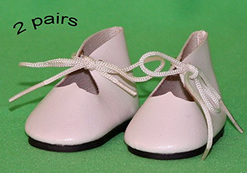 Shoes for Dolls, 2 Pairs of White Faux Leather Shoes, Shoes with Shoelace Size: (L) 5cm (W) 2.50cm (H) 2.75cm. for 14-16 nches Doll