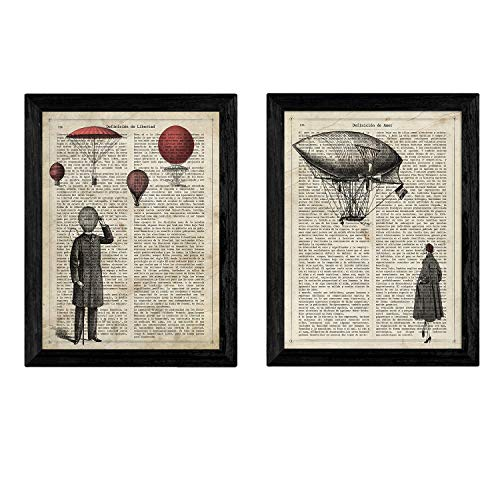 Nacnic Vintage Ballon Paar Poster. Vintage Stil Wanddekoration Abbildung von Liebe und Reisen mit Bucherseite Hintergrund. Verschiedene kreative Bilder ohne Rahmen. Größe A4.
