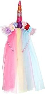 JYUAN Rainbow Unicorn Horn Headband With Tulle Ears Flowers for Girls Kids Birthday Party Halloween Cosplay Costume