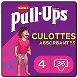 Huggies Pull-Ups, Culottes absorbantes Explorers pour filles, Taille 9-18 mois (8-12 kg), 36 culottes, Avec indicateur d'humidité