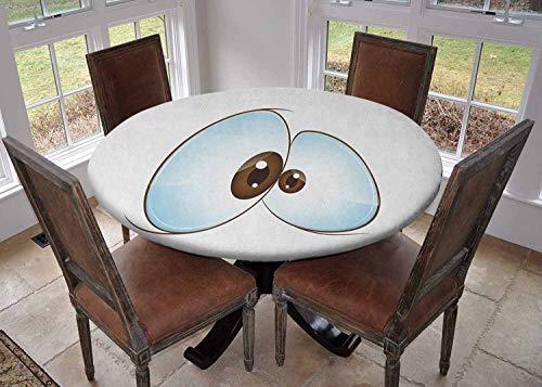 Ronde tafelkleed keukendecoratie, tafelkleed met elastische randen, Cartoon Style Eyes Diverse Verschillende Expressies Emoticons Humorous Funny Pale Blue Zwart Wit, Wasbaar tafelkleed