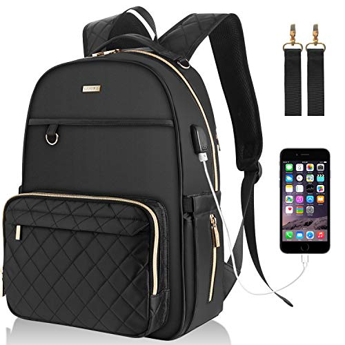 Landici Baby Changing Bag Backpack,Waterproof Large Capacity Travel Diaper Bag Multi-Function Maternity Rucksack Nappy Bag with Changing Mat&Stroller Strap&USB Charging Port for Mom & Women-Black
