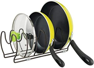 mDesign Metal Wire Pot/Pan Organizer Rack for Kitchen Cabinet, Pantry Shelves, 6 Slots for Vertical or Horizontal Storage of Skillets, Frying or Sauce Pans, Lids, Baking Stones - Bronze