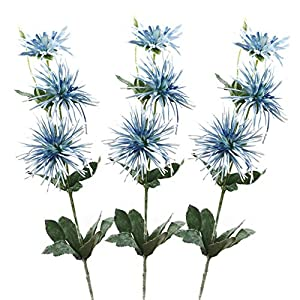 Lily Garden Spider Mum Artificial Flower 32″ Real Touch 9 Flowers Pack of 3 (Light Sky Blue)