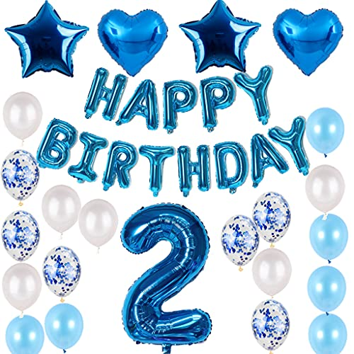 """Set di decorazioni di compleanno per bambini, 2 pezzi, colore blu, per il compleanno, per il 2° compleanno, blu per ragazzi e ragazze, festone con scritta """"Happy Birthday"""", palloncini con numero 2 blu"""