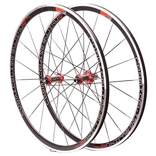 NS Juego Ruedas Bicicleta 700C Tiro Recto Rompevientos 30MM Ruedas Freno V/C Delantero 2 Trasero 4 Llevando Fibra Carbon Cubo Tubo QR 8-9-10-11 Velocidad (Color : Red Hub)