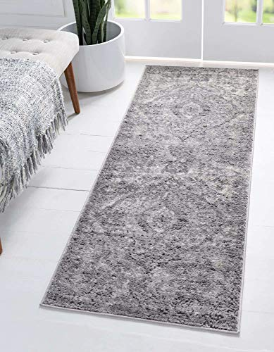 Unique Loom Portland Collection Medallion Tone-on-Tone Textured Bohemian Vintage Light Gray Runner Rug (2' 2 x 8' 0)