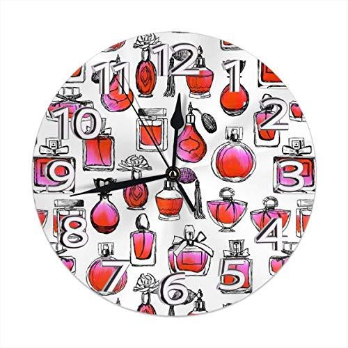 Reloj de Pared Acuarela Rojo y Rosa San Valentín Amor Moda Belleza Maquillaje Impresión Reloj de Pared Decorativo
