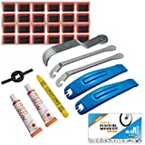 Bike Puncture Repair Kit - Bicycle Tyre Hose Glue Adhesive Super Patches Hardened Levers Rasp Tool for All...