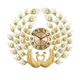Linjolly Relojes de Pared Reloj de Pavo Real Sala de Estar Moderno Relojes de Pared Creativo Art Big Wall Clock Moda Sala de Estar Decoración Reloj de Pared (Color : A)
