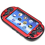 Szjay  Metal Aluminum Metallic Protection Hard Case Cover for Playstation Ps Vita 2000 (Red)