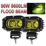 CO LIGHT 2021 New 2pcs LED Flood Beam Driving Lights Yellow Fog Work Light Pods Fit for Motorcycle ATV UTV SUV Car Tractor Forklift Truck Boat 914Z-Y-F-2pcs