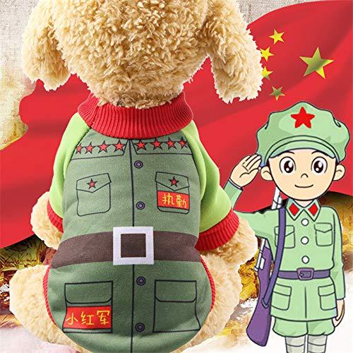 Doc Mao Haustierhemd Mantel Hund Welpen T-Shirt Oberteile Kleidung Bekleidung Gepolsterte Verdickung Imitation Hirsch Lederjacke Kostüme Katze M