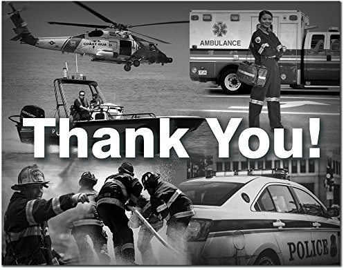 Thank You Greeting Card - First Responder - Police - Firefighter - Ambulance - Coast Guard - Includes Cards and Envelopes - 5.5' x 4.25' (24 Pack)