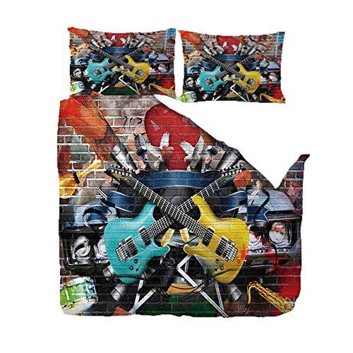 Jior Home Art Dekbedovertrekken Set, Gitaar Gedrukt Quilt Cover En 2 Kussensloop Set,Trendy Quilt Bedding Set,Ritssluiting Ontwerp