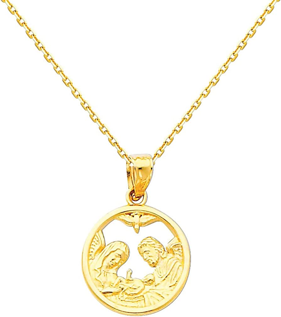 The World Jewelry Center 14k Yellow Gold Religious Baptism Pendant with 0.9mm Cable Chain Necklace