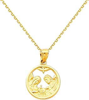 14k Yellow Gold Religious Baptism Pendant with 0.9mm Cable Chain Necklace