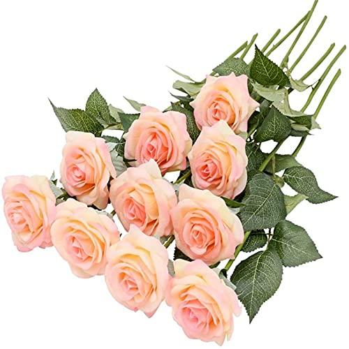 Yyhmkb 10Pcs Rosa Kunstblumen Gefälschte Rose, Individueller Stiel Seidenrose Kunstblumen Künstliche Rosen Für Hochzeitsfeiergrave Dekoration (Hellrosa) Champagner