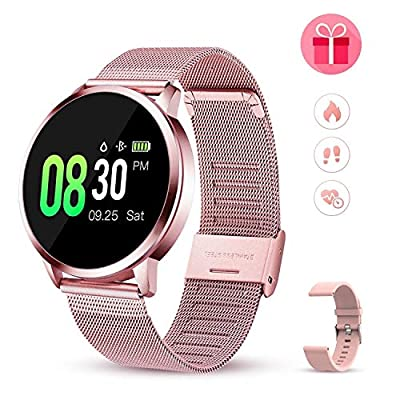 GOKOO Smart Watch Watches for Women Men Activity Fitness Tracker Blood Pressure Monitor Blood Sleep Tracker Heart Rate Monitor Step Calorie Waterproof Smartwatch Compatible with iOS and Android