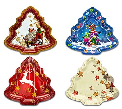 Helmecke & Hoffmann Weihnachtsteller 4er-Set, Pappteller mit weihnachtlichen Motiven, Tannenbaumform