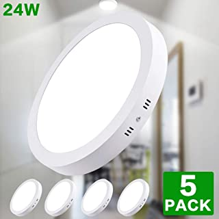"5Pack W-LITE LED Flush Mount Ceiling Light-24W 11.81"" Surface Mounted Down Lights, 6000K Cool White, Round Lighting Fixture for Kitchen, Closet, Hallway, Stairwell, Dining Room"