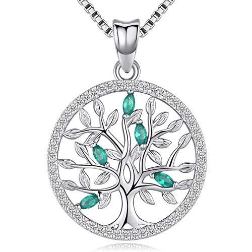 Friggem Collana e pendente in argento sterling con delicato albero della vita con zirconi verdi per donna e uomo, regalo per la festa della mamma