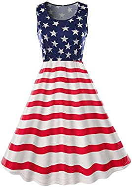 Xuan2Xuan3 Women 4th July American Flag Stars Stripes Print Short Casual Shirt Dress