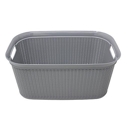JVL Wäschekorb, Strick-Design, aus Kunststoff, rechteckig, mit Deckel, Plastik, grau, Rechteckig