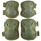 Juego de Almohadillas Protectoras tácticas de Combate de Rodilla y Codo para Juegos de Paintball CS al Aire Libre Ciclismo Seguridad Patinetas de Skate Patines de protección de Rodilla (Green)