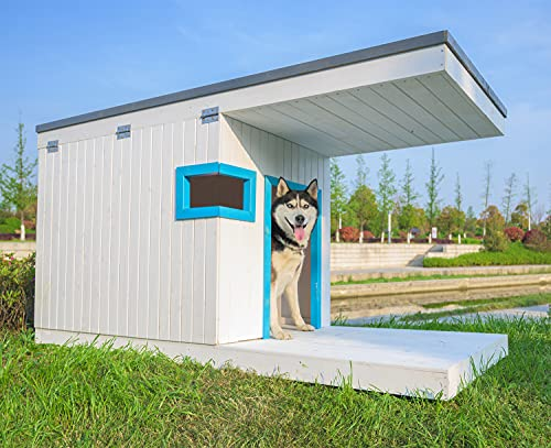 Laifug Large Dog House,Weather Proof Outdoor Dog Kennel,Wood Dog House with Porch Deck