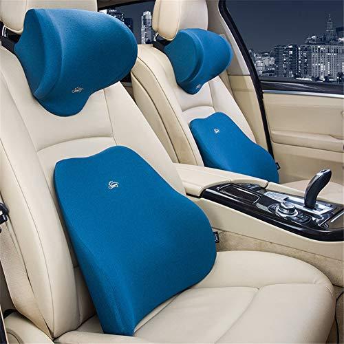 ZYJFP neksteunkussen voor de lumbale wervelkolom, ergonomisch, geheugenkatoen, met neksteun, voor pijnverlichting, voor autostoel, bureaustoel, blauw