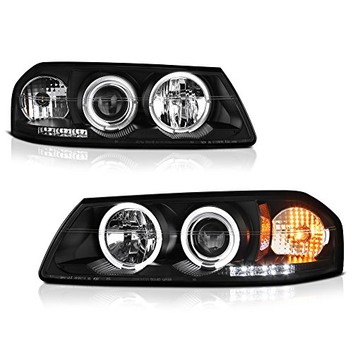 [For 2000-2005 Chevy Impala] LED Halo Ring Black Projector Headlight Headlamp Assembly, Driver & Passenger Side
