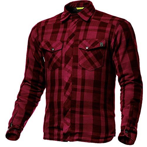 SHIMA RENEGADE RED, Motorrad Lumberjack Jacken-Hemd Vintage-Flanell Hemd mit Protektoren, (Rot, S)