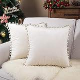 Topfinel cojines exterior de terciopelo 2 fundas de cojines decoracion con ribete 45x45 cm, almohada para sofas, camas, sillas beige